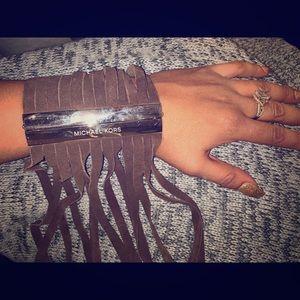 Michael Kora Suede Fringg Cuff Bracelet
